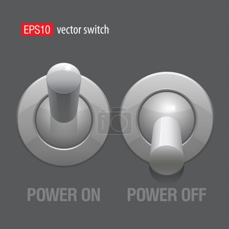 Cool Realistic Toggle Switch grey color. Vector