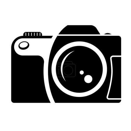 camera sign. black and white icon.