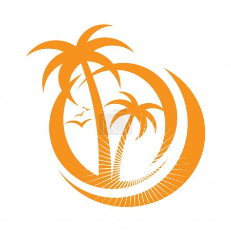 Palm tree emblems. icon sign. design element