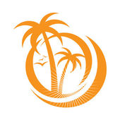 Vector set - palm tree emblems & labels in different styles