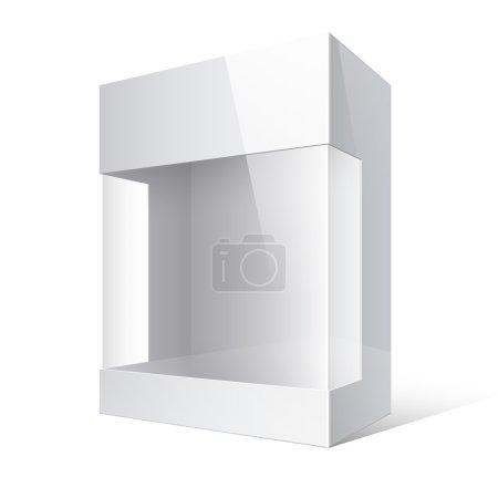 Ilustración de Caja de cartón ligero paquete realista con una ventana de plástico transparente. ilustración vectorial - Imagen libre de derechos