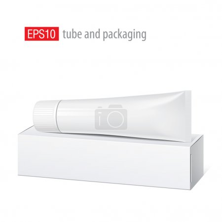 Illustration pour Cool Tube blanc réaliste et emballage. Pour cosmétiques, onguents, crème, pâte dentaire, colle Vector. Éléments séparés - image libre de droit
