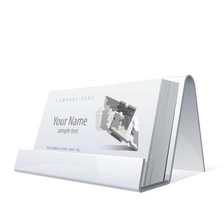 Illustration pour Porte-cartes blanc brillant pour cartes de visite. Illustration vectorielle - image libre de droit
