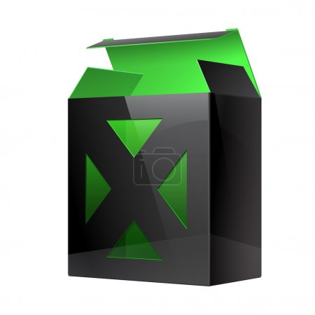 Cool Realistic Black Package Cardboard Box green inside.