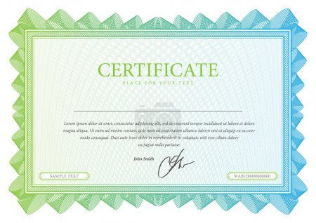 Illustration for Template that is used in certificate, currency and diplomas. Vector illustration - Royalty Free Image