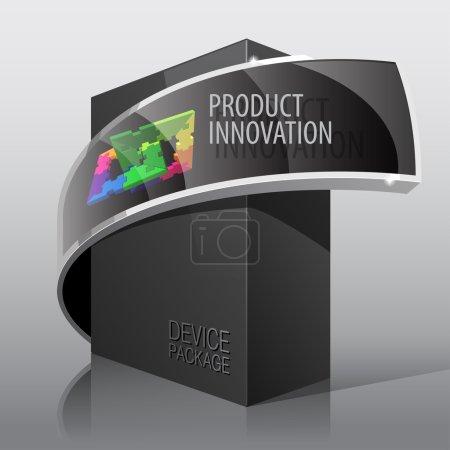Illustration pour Boîte en carton noir enveloppe réaliste. pour les logiciels de présentation, dispositif électronique et d'autres produits. illustration vectorielle - image libre de droit
