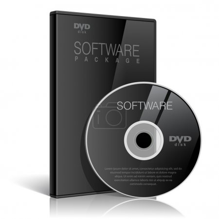 Black Realistic Case for DVD Or CD Disk with DVD Or CD Disk. Text, reflection and background on separate layers. Vector Illustration