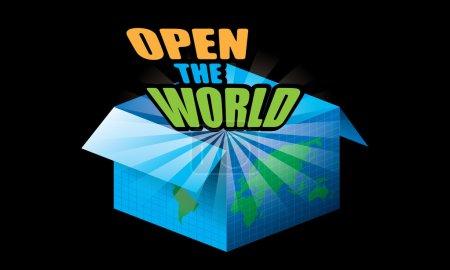 Open the world concept vector