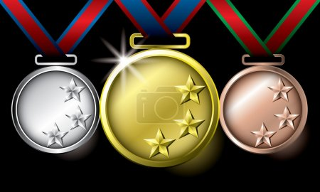 Gold silver and bronze stars medals