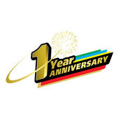The abstract of 1 year anniversary creative concept vector