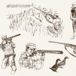 Compilation of vector illustrations of hunter whil...