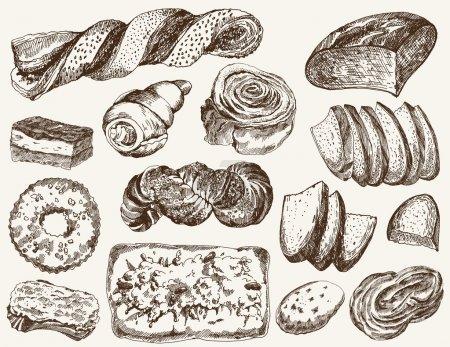 Illustration pour Compilation d'illustrations vectorielles de pain et de pâtisserie maison - image libre de droit