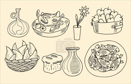Illustration pour Plats rustiques simples à partir de produits fabriqués sur la chasse et la cueillette - image libre de droit