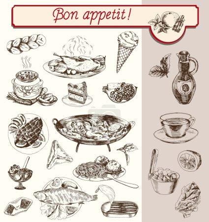 Illustration pour Boissons alimentaires fruits légumes set croquis faits à la main - image libre de droit