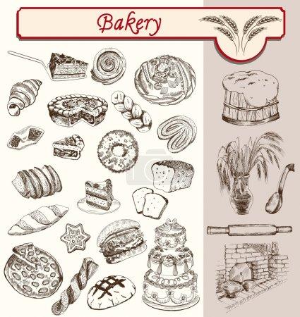 Illustration pour Confiseries et pâtisseries esquisses artisanales set vecteur - image libre de droit