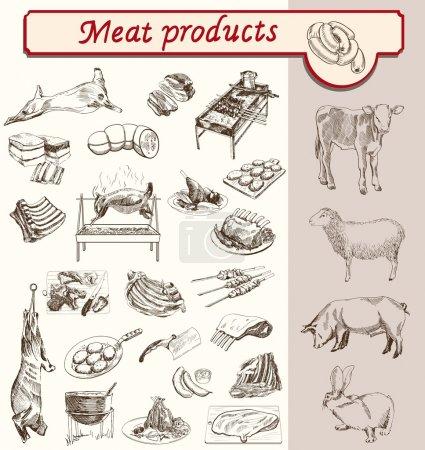 Illustration pour Viande et produits à base de viande vecteur de croquis d'élevage - image libre de droit