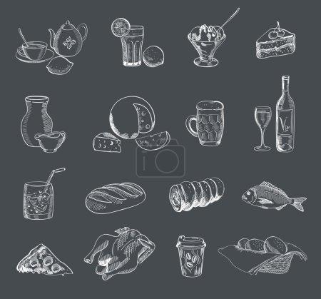 Illustration pour Restauration alcool boissons fast food vecteur croquis - image libre de droit