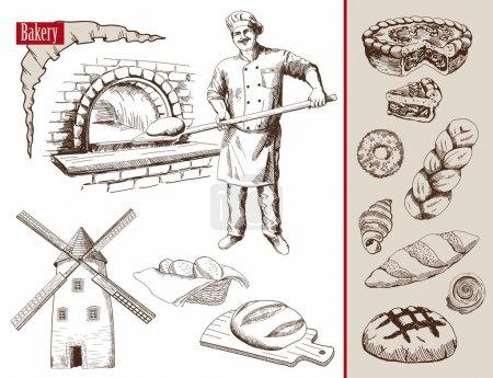 Illustration pour Boulanger prépare du pain dans un four à pierre illustration vectorielle - image libre de droit