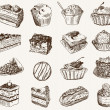 Confectionery. set of vector sketches on a gray ba...