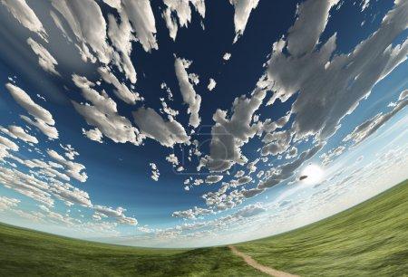 Photo pour Ciel sphérique et champ - image libre de droit