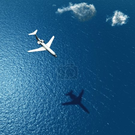 Photo for Airplane flies over a sea - Royalty Free Image