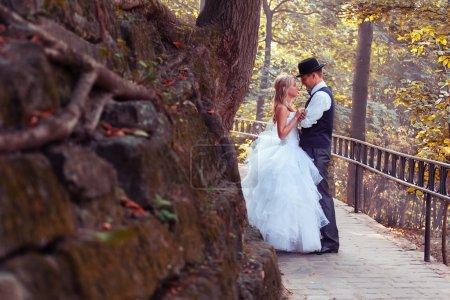 Photo pour Mariée européenne et marié dans le parc - image libre de droit