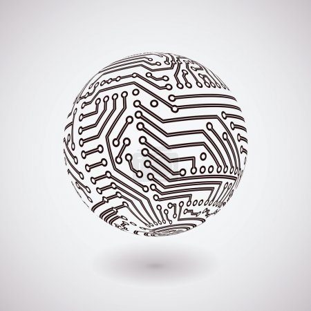 Photo for Vector sphere covered with circuit board pattern - Royalty Free Image