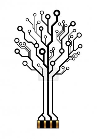 Illustration for Vector circuit board technology tree with connector - Royalty Free Image