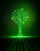 Vector green circuit board background with glowing technology tree