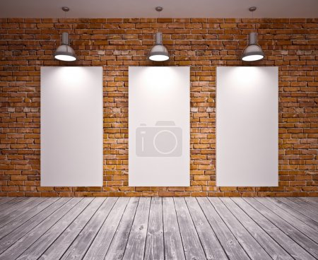 Photo for Banner on brick wall with lamps - Royalty Free Image