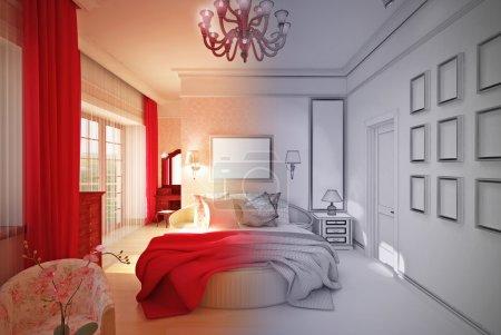 Innenarchitektur Schlafzimmer in rosa