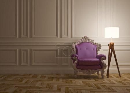 Photo pour Intérieur classique avec lampadaire fauteuil & panneaux muraux - image libre de droit
