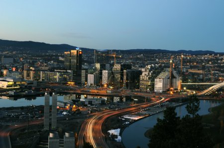 Business district of Oslo at the sunset...