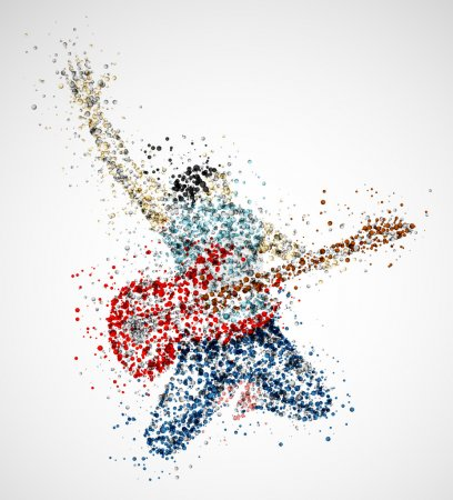 Illustration for Abstract guitarist from circles. Eps 10 - Royalty Free Image