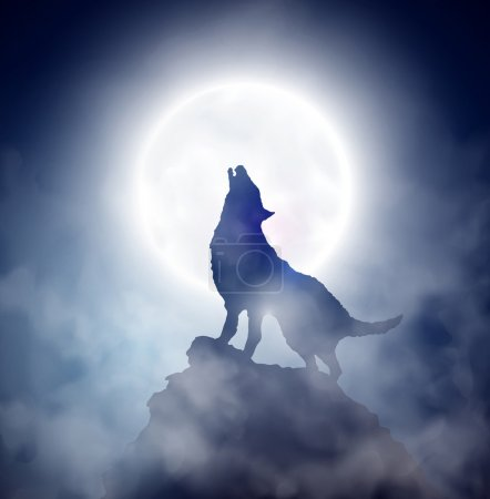 Illustration for Wolf howling at the moon. Eps 10 - Royalty Free Image