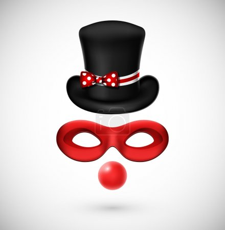 Illustration for Accessories a clown (hat, mask and, red nose). Eps 10 - Royalty Free Image