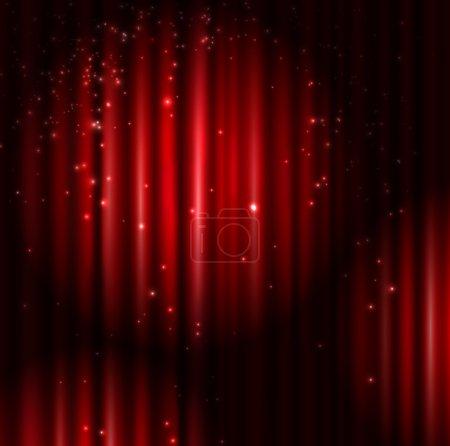 Illustration pour Fond avec rideau rouge et lumière. Eps 10 - image libre de droit