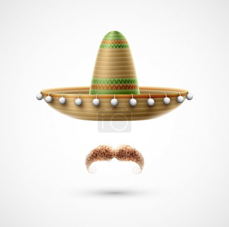 Illustration for Sombrero and mustache (Mexican accessories). Eps 10 - Royalty Free Image
