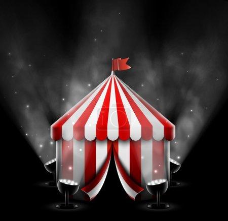 Illustration pour Tente de cirque avec projecteurs, eps 10 - image libre de droit