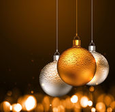 Christmas balls on dark background
