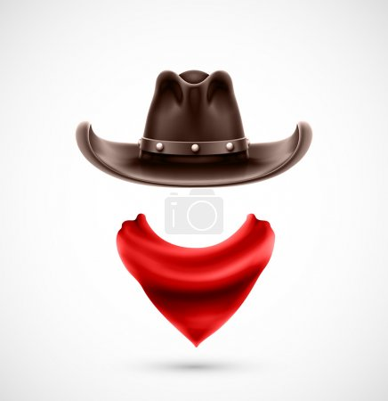 Illustration for Accessories cowboy (hat and scarf), eps 10 - Royalty Free Image