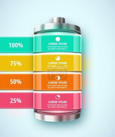 Illustration for Battery, template infographic, eps 10 - Royalty Free Image
