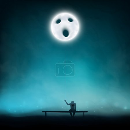 Illustration for Deep depression, unbearable loneliness, eps 10 - Royalty Free Image