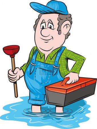Illustration pour Illustration vectorielle d'un plombier d'urgence . - image libre de droit