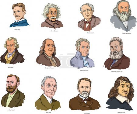 Illustration for Vector illustration of famous world scientists. - Royalty Free Image
