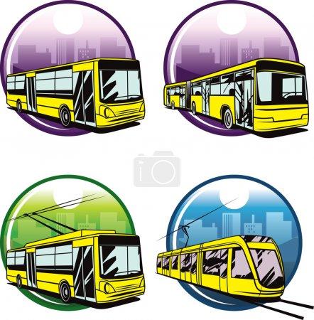 Web icons of basic city transports....