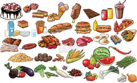 Photo pour Collecte vectorielle d'aliments et de boissons . - image libre de droit
