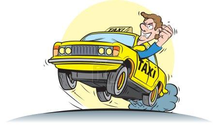 Illustration pour Illustration vectorielle du chauffeur de taxi fou . - image libre de droit