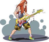 Vector illustration of Heavy metal guitarist