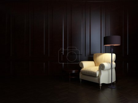 Photo for Armchair and floor lamp on wood wall - Royalty Free Image